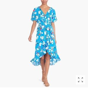 J Crew factory floral ruffle high low wrap dress